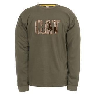 CAT Long Sleeve Custom Logo T-Shirt Army Moss / Whitetail
