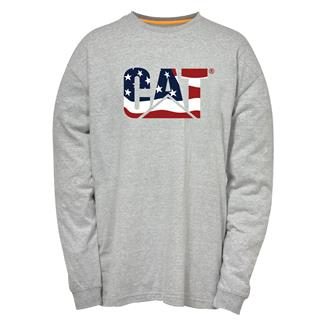CAT Long Sleeve Custom Logo T-Shirt Heather Gray / Flag