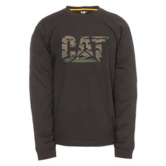 CAT Long Sleeve Custom Logo T-Shirt Black / Mud Tracks