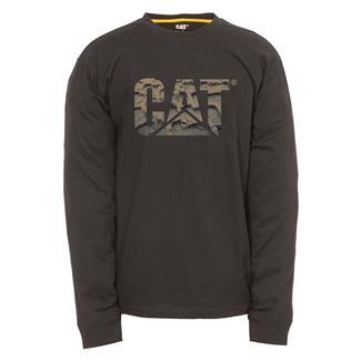 CAT Long Sleeve Custom Logo T-Shirt Black / Mud Tracks