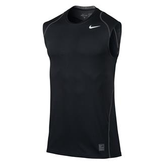 NIKE Pro Cool Fitted Sleeveless Shirt Black / Dark Gray / White