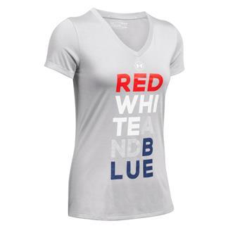 Under Armour Freedom V-Neck T-Shirt Overcast Gray / White