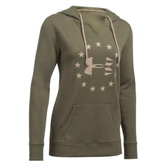 Under Armour Freedom Logo Favorite Fleece Hoodie Marine OD Green / Desert Sand