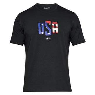 Under Armour Freedom USA Chest T-Shirt Black / White