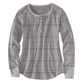 Carhartt Meadow Printed Waffle Knit Henley Asphalt Heather
