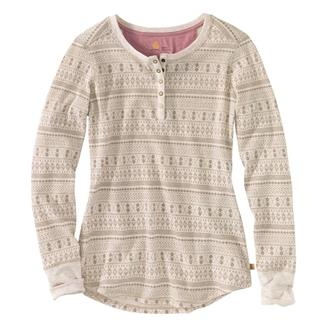 Carhartt Meadow Printed Waffle Knit Henley Warm Oatmeal Heather