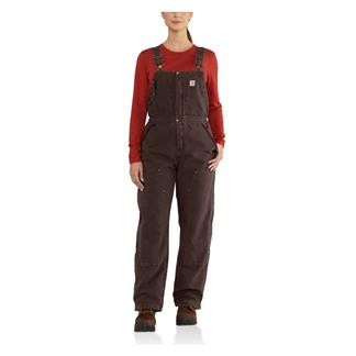 Carhartt Weathered Duck Wildwood Bib Overalls Dark Brown