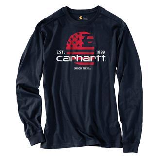 Carhartt Lubbock Filled Flag Long-Sleeve T-Shirt Navy