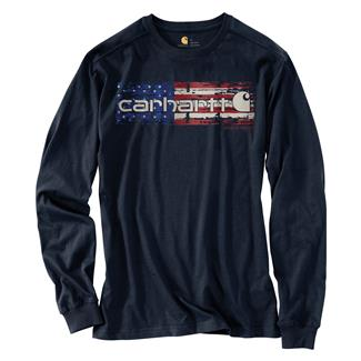 Carhartt Lubbock Distressed Flag Long-Sleeve T-Shirt Navy