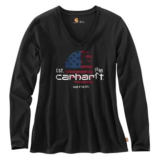 Carhartt Lubbock Filled Flag Long Sleeve T-Shirt Black