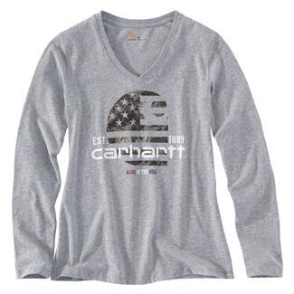 Carhartt Lubbock Filled Flag Long Sleeve T-Shirt Heather Gray