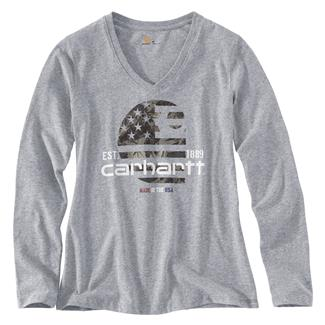 Carhartt Lubbock Filled Flag Long Sleeve T-Shirt Heather Gray