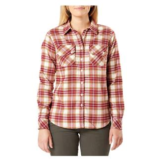 5.11 Hera Flannel Long Sleeve Shirt Ivory Plaid