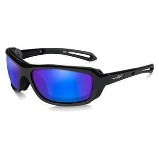 Wiley X WX Wave Gloss Black (frame) - Polarized Blue Mirror (lens)