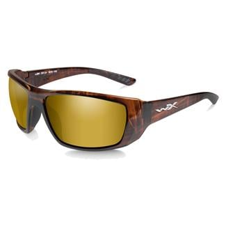 Wiley X WX Kobe Gloss Hickory Brown (frame) - Polarized Venice Gold Mirror (lens)