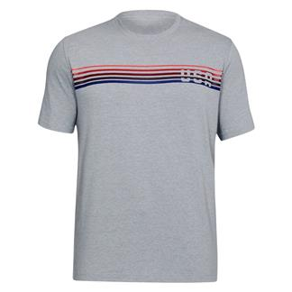 Under Armour Freedom Chest Lines T-Shirt Steel Light Heather / Red