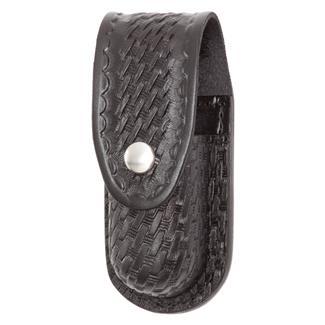Gould & Goodrich Leather Aerosol Case with Nickel Hardware Black Basket Weave