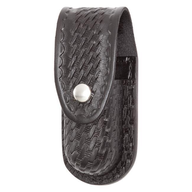 Gould & Goodrich Leather Aerosol Case with Nickel Hardware Basket Weave Black