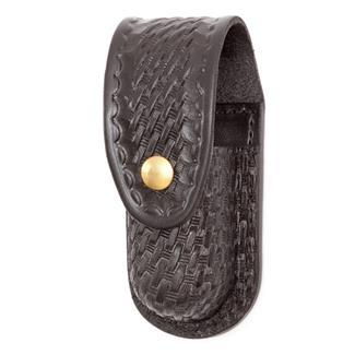 Gould & Goodrich Leather Aerosol Case with Brass Hardware Basket Weave Black