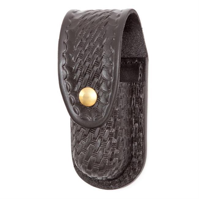 Gould & Goodrich Leather Aerosol Case with Brass Hardware Black Basket Weave