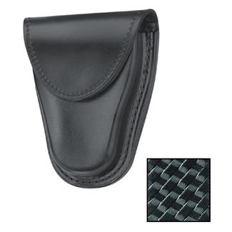 Gould & Goodrich Hinged Handcuff Case with Hidden Snap Basket Weave Black