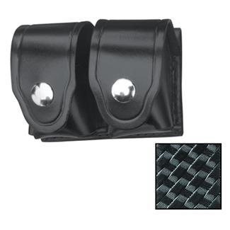 Gould & Goodrich Leather Speedloader Case with Nickel Hardware Basket Weave Black
