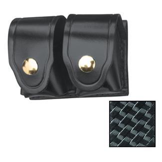 Gould & Goodrich Leather Speedloader Case with Brass Hardware Black Basket Weave