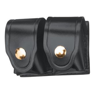 Gould & Goodrich Leather Speedloader Case with Brass Hardware Hi-Gloss Black