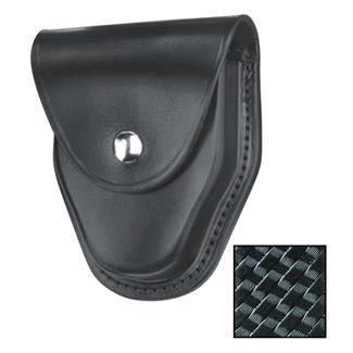 Gould & Goodrich ASP and Hiatt Handcuff Case with Nickel Hardware Basket Weave Black