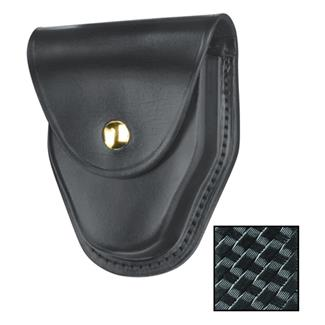 Gould & Goodrich ASP and Hiatt Handcuff Case with Brass Hardware Black Basket Weave
