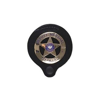 Gould & Goodrich Clip-On Round Badge Holder with Snap Black
