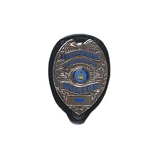 Gould & Goodrich Clip-On Oval Badge Holder with Snap Black