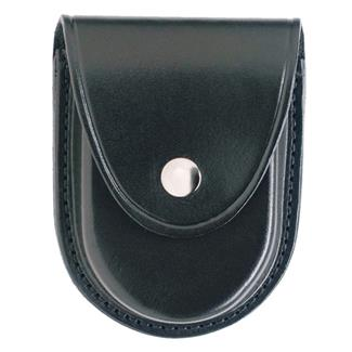Gould & Goodrich Round Bottom Handcuff Case with Nickel Hardware Plain Black