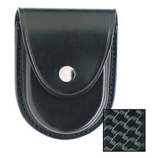 Gould & Goodrich Round Bottom Handcuff Case with Nickel Hardware Basket Weave Black