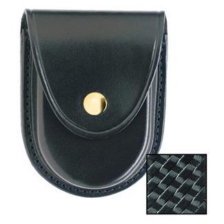 Gould & Goodrich Round Bottom Handcuff Case with Brass Hardware Black Basket Weave