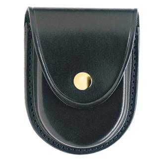 Gould & Goodrich Round Bottom Handcuff Case with Brass Hardware Black Hi-Gloss