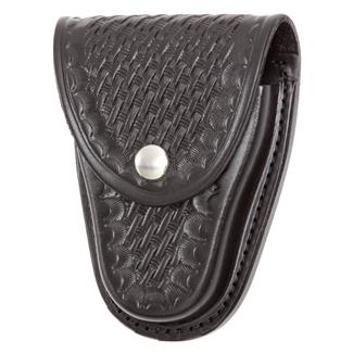 Gould & Goodrich Chain Handcuff Case with Nickel Hardware Basket Weave Black