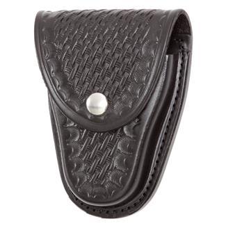 Gould & Goodrich Chain Handcuff Case with Nickel Hardware Basket Weave Black