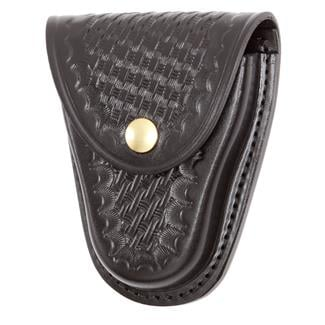 Gould & Goodrich Chain Handcuff Case with Brass Hardware Basket Weave Black