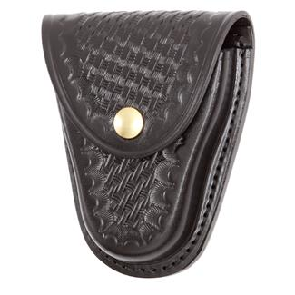 Gould & Goodrich Chain Handcuff Case with Brass Hardware Basket Weave Black