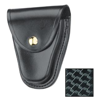 Gould & Goodrich K-Force Chain Handcuff Case with Brass Hardware Basket Weave Black