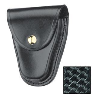 Gould & Goodrich K-Force Chain Handcuff Case with Brass Hardware Basket Weave Black