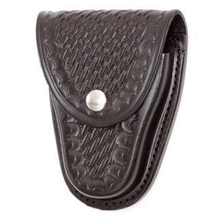 Gould & Goodrich Hinged Handcuff Case with Nickel Hardware Basket Weave Black