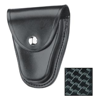 Gould & Goodrich K-Force Hinged Handcuff Case with Nickel Hardware Basket Weave Black