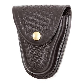Gould & Goodrich Hinged Handcuff Case with Brass Hardware Basket Weave Black