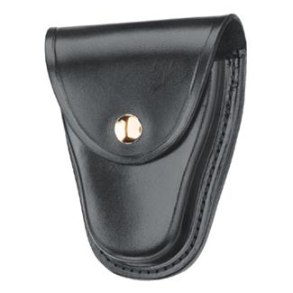 Gould & Goodrich Hinged Handcuff Case with Brass Hardware Black Hi-Gloss