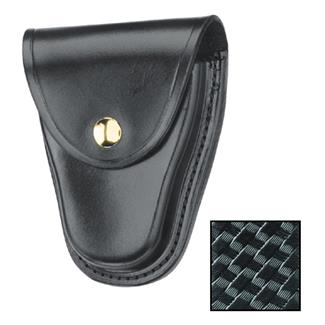Gould & Goodrich K-Force Hinged Handcuff Case with Brass Hardware Basket Weave Black