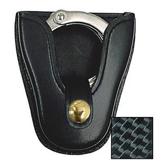 Gould & Goodrich K-Force Open Top Handcuff Case with Brass Hardware Basket Weave Black