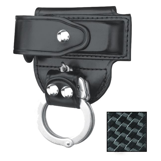 Gould & Goodrich Mag Case/ Cuff Holder with Nickel Hardware Black Basket Weave