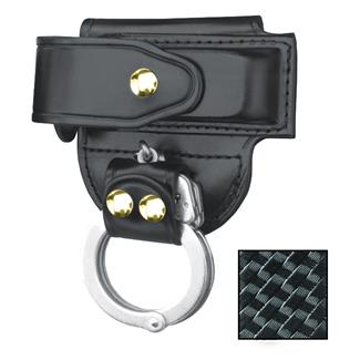 Gould & Goodrich Mag Case/ Cuff Holder with Brass Hardware Basket Weave Black